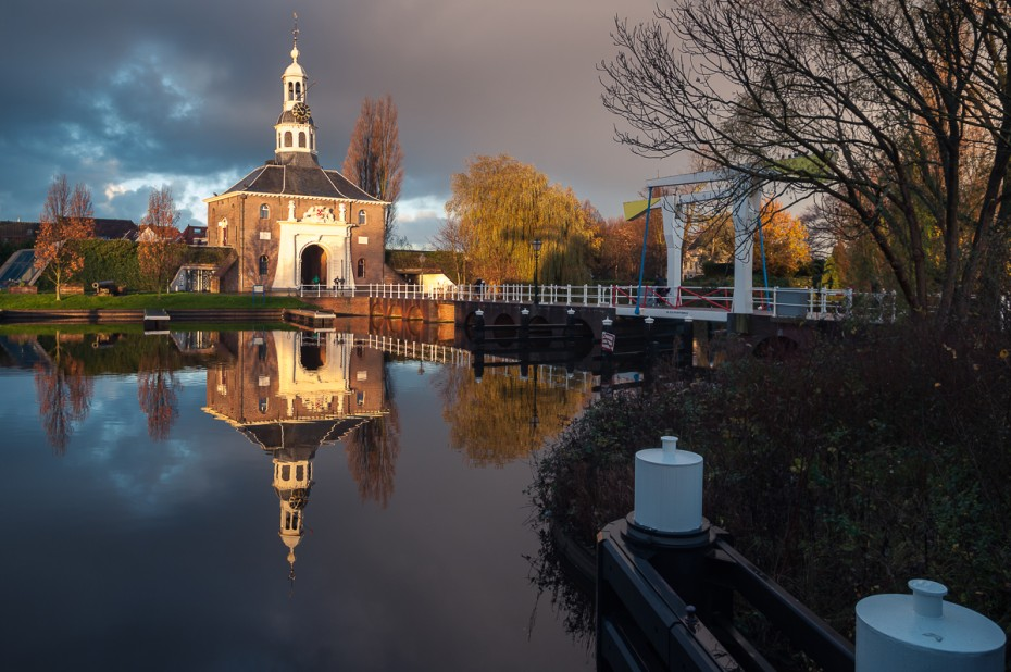 A morning view of the beautiful medeival gate of Leiden, The Netherlands