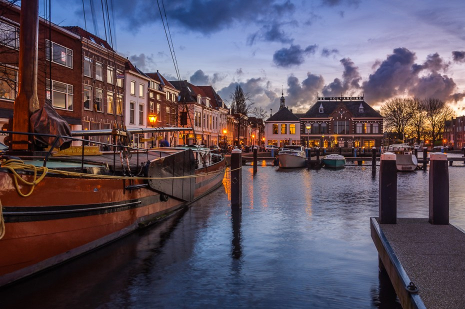 This mornings pre sunrise in the inner harbor of the beautiful city of Leiden, the Netherlands The Perseverance of Lady Fortune by www.martijnvandernat.nl 1/4 sec, f6,3 ISO 200, 17 mm taken off one of the bollards